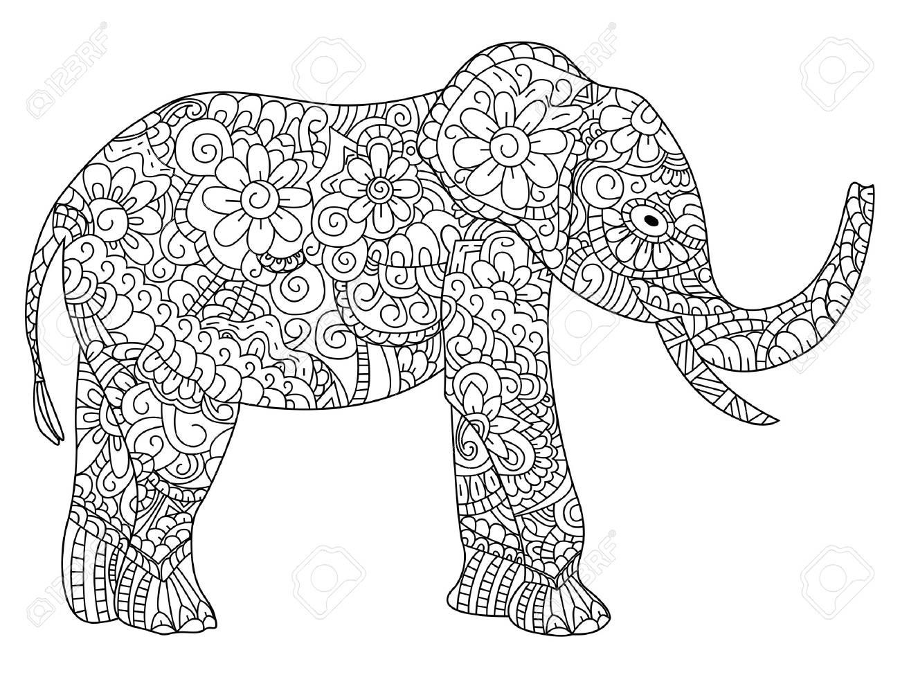 Coloriage Elephant Pour Adulte.Livre De Coloriage Animal Elephant Pour L Illustration Des Adultes