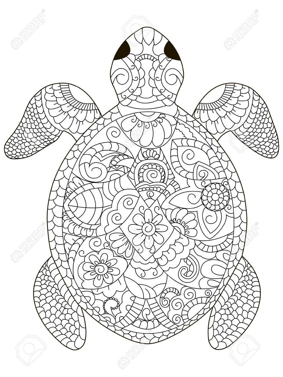 Meeresschildkröte Malbuch Für Erwachsene Vektor-Illustration. Anti ...