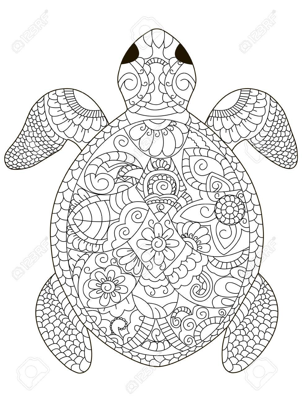 sea turtle coloring book for adults vector illustration. Anti-stress..