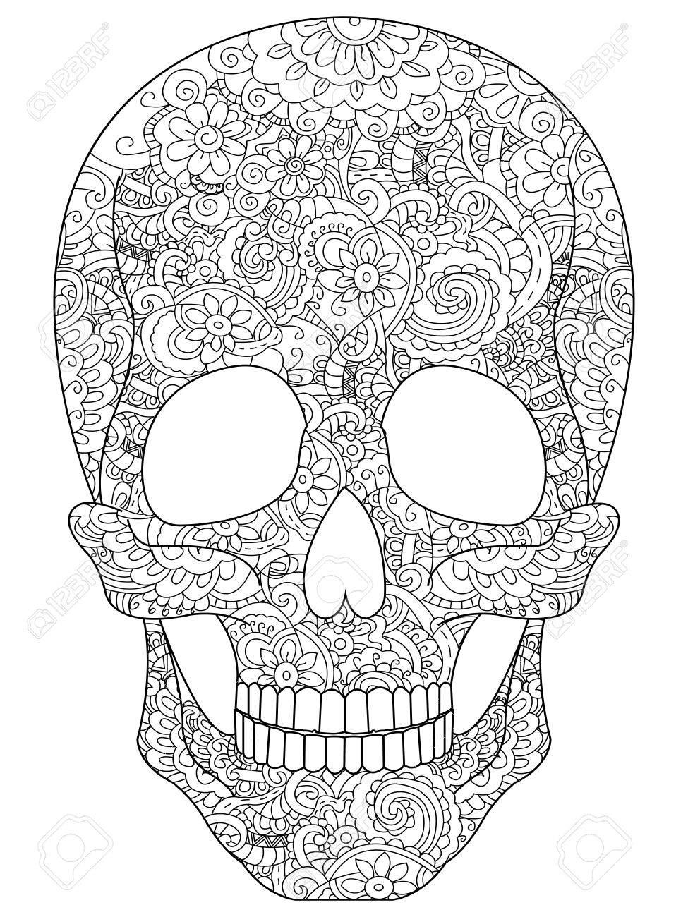Skull Coloring Book For Adults Vector Illustration Anti Stress