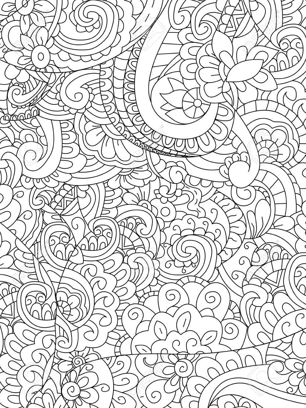 Flor Del Modelo De Libro Para Colorear Para Los Adultos Ilustración Vectorial Antiestrés Colorear Para Adultos Estilo De Zentangle Líneas Blancas Y