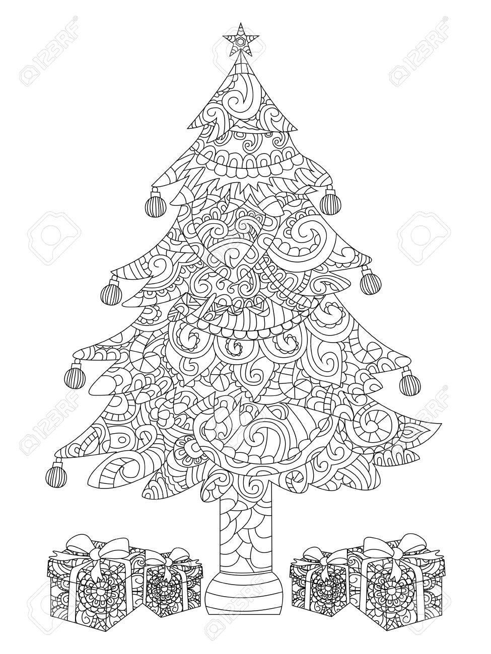 Rbol De Navidad Con Regalos Para Colorear Ilustración Libro ...