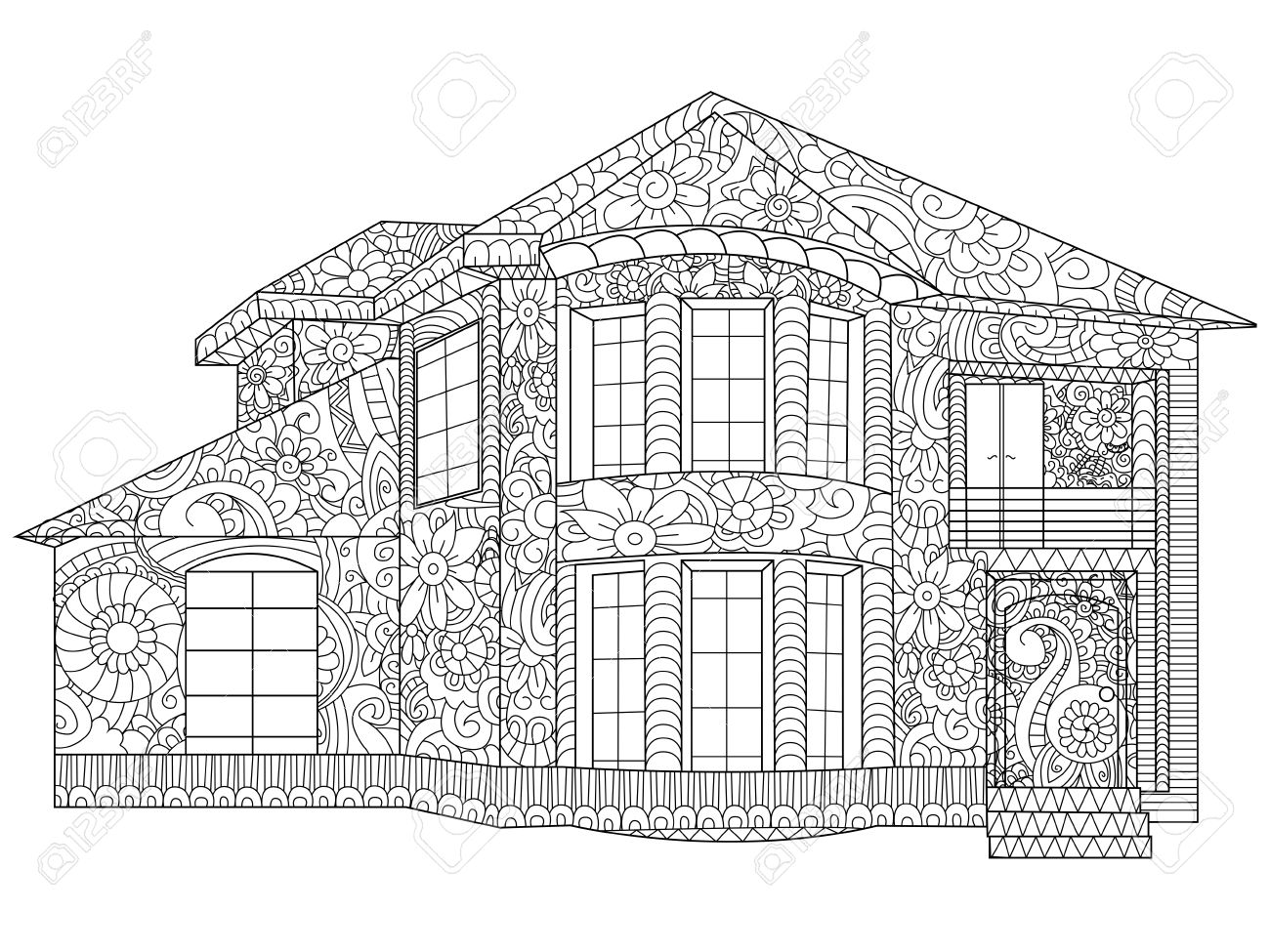 Two-storey House Coloring Book Illustration. Anti-stress Coloring ...