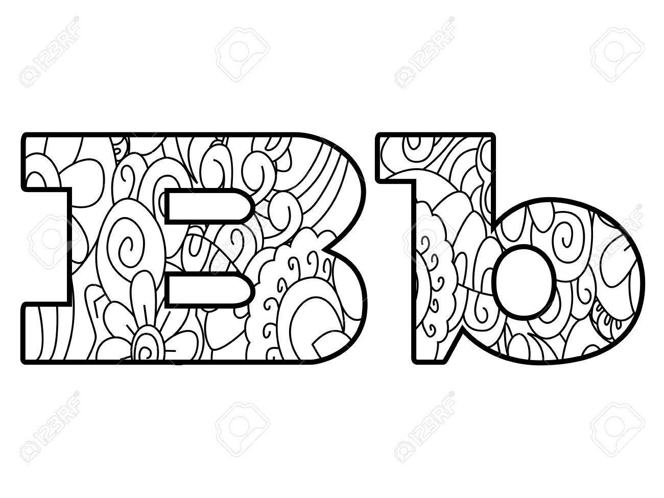 Anti Coloring Book Alphabet, The Letter B Vector Illustration ...