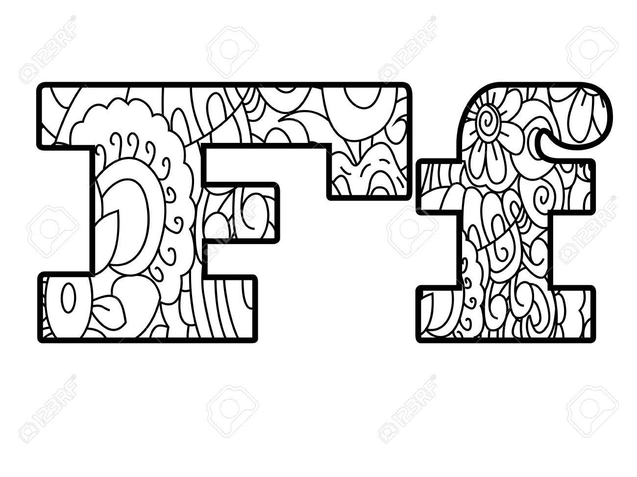 Anti Coloring Book Alphabet, The Letter F Vector Illustration ...