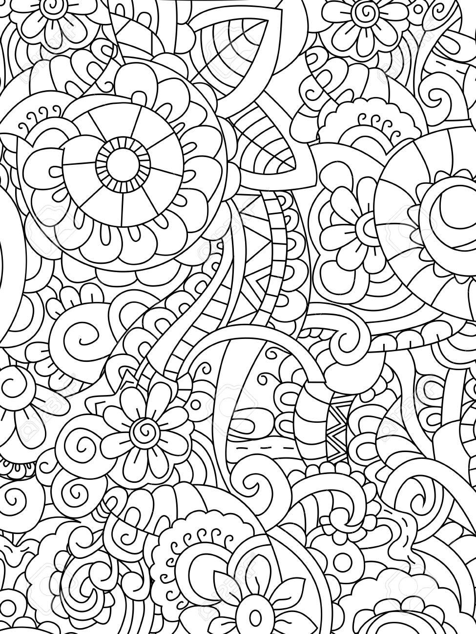 Vector De Colorante De Flores De Patrón Para Adultos Ilustraciones ...