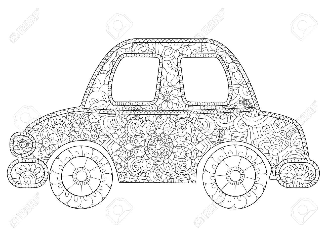 Baby Toy Car Coloring Book Vector For Adults Stock Photo