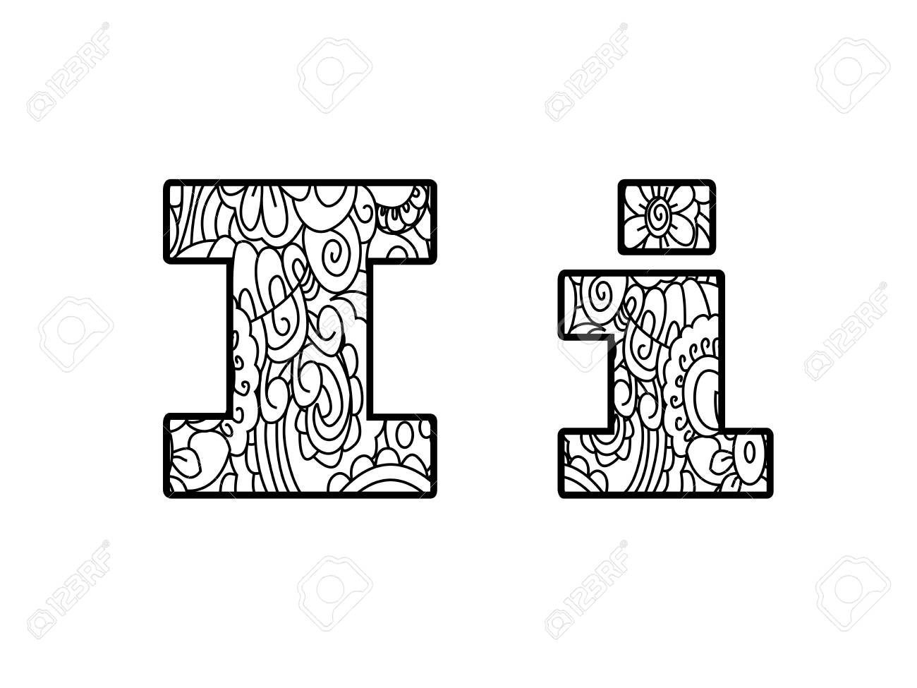 Anti Coloring Book Alphabet, The Letter I Raster Illustration Stock ...