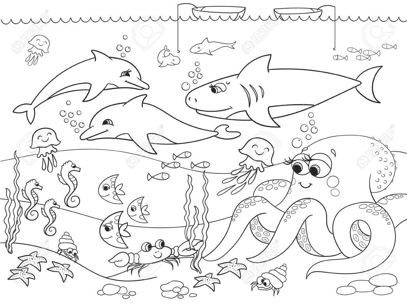 Fond Marin Avec Des Animaux Marins Coloriage De Vecteur Pour Les Enfants Dessin Anime Clip Art Libres De Droits Vecteurs Et Illustration Image 72363026