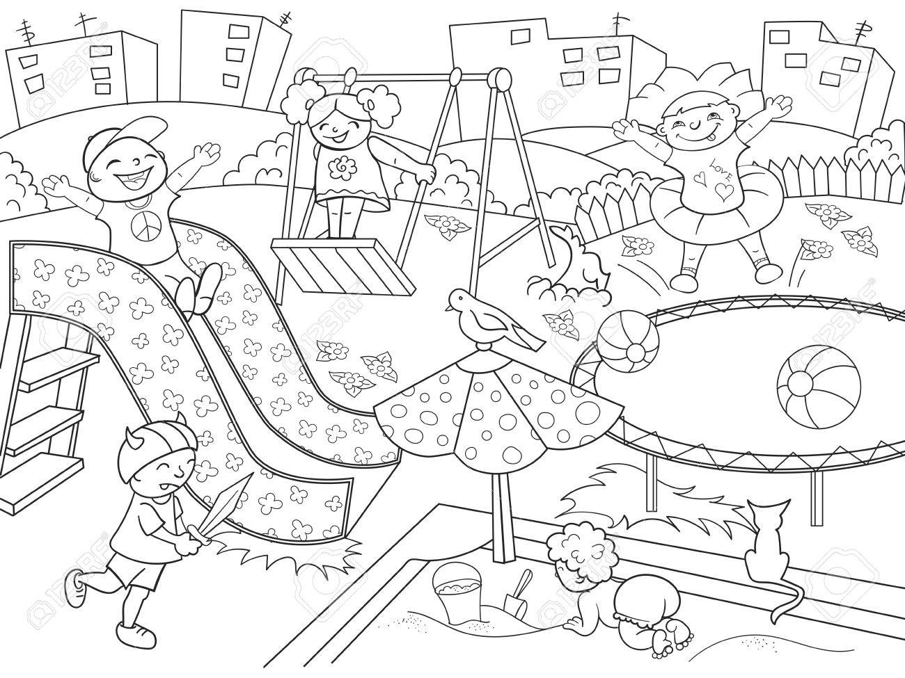 childrens playground coloring. vector illustration of black and