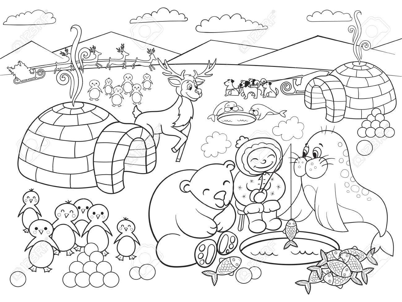Ilustración De Vector De Niños Para Colorear Polo Norte