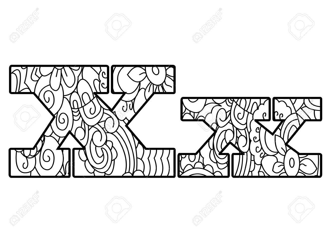 Alfabeto Anti Libro Para Colorear, La Ilustración Vectorial Letra X ...