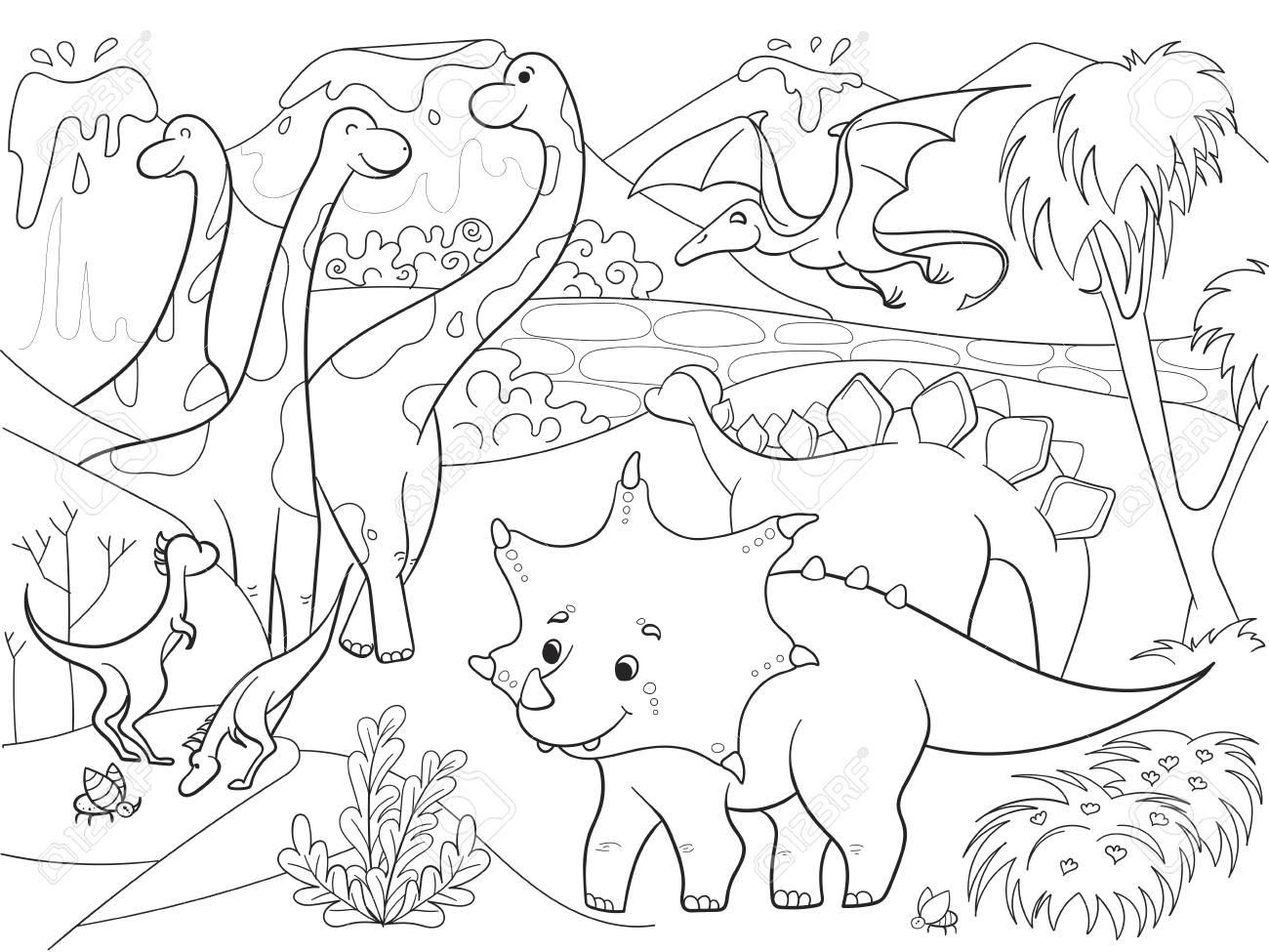 Colorear Dibujos Para Niños Dinosaurios En La Naturaleza ...