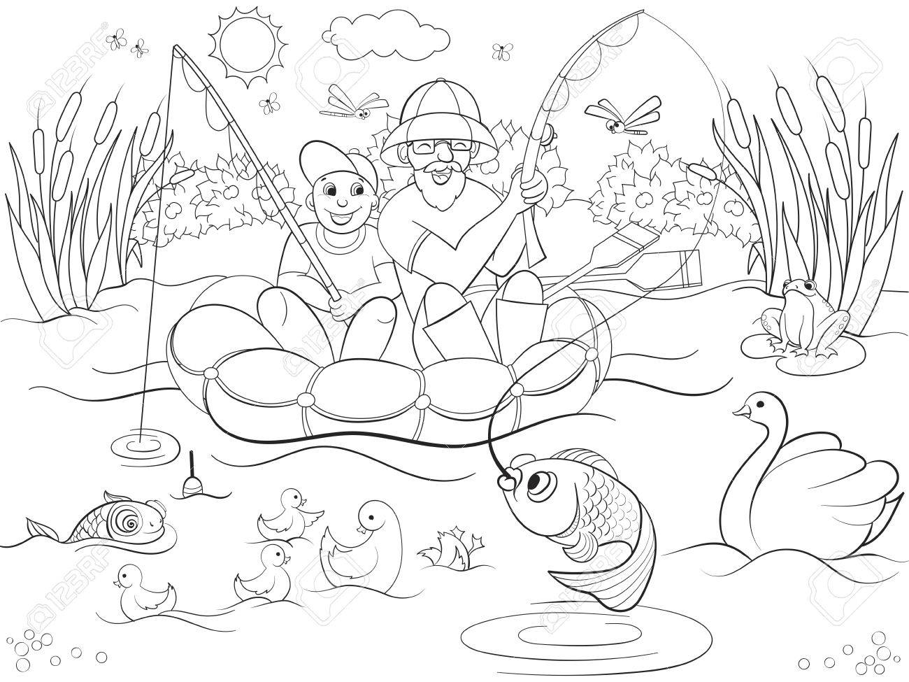 Padre E Hijo De La Pesca En El Río Que Colorea Para La Ilustración ...