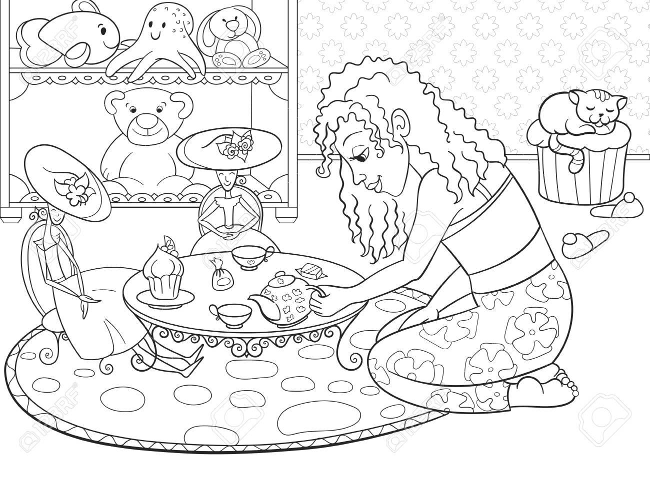 Les Enfants A Colorier Fille Vecteur Dans La Chambre Des Enfants Jouant Avec Des Poupees Clip Art Libres De Droits Vecteurs Et Illustration Image 74952145