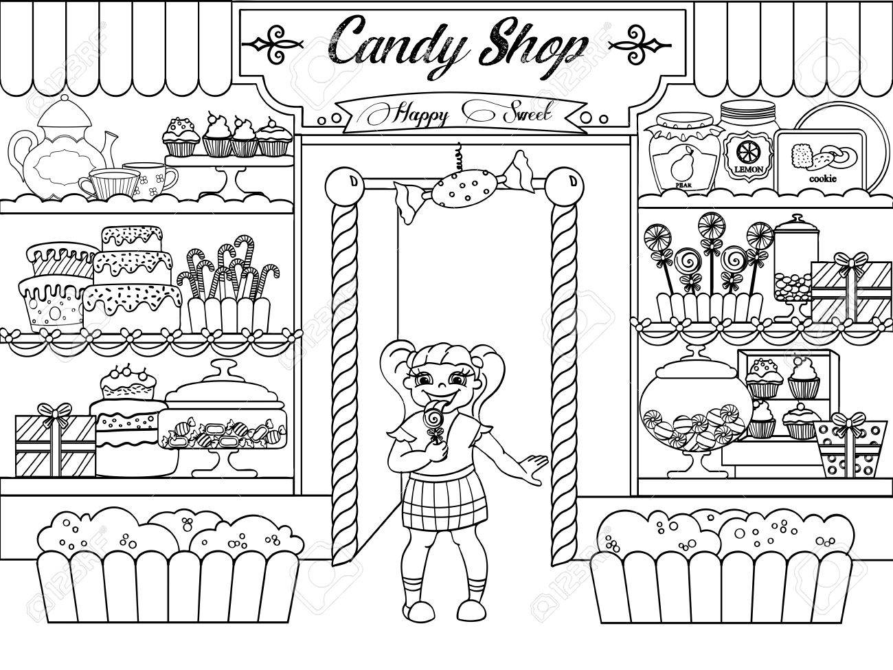 Kids Coloring Vector Girl In Candy Shop Royalty Free Cliparts Vectors And Stock Illustration Image 74903537