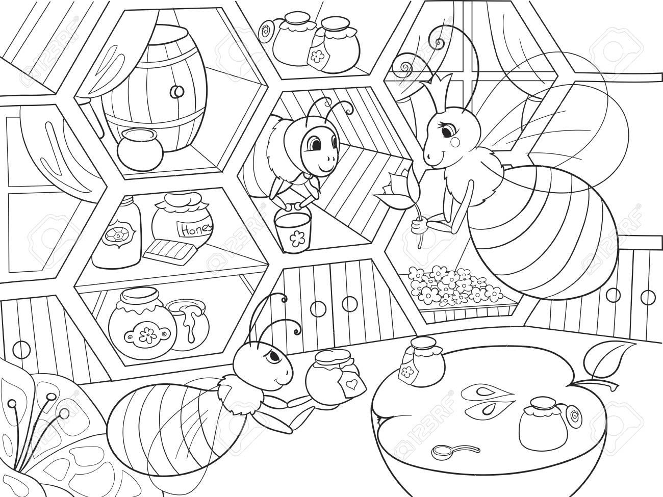 Vie Intérieure Et Familiale Des Abeilles à La Maison à Colorier Pour Illustration Vectorielle De Dessin Animé Enfants Rucher Abeille à Miel