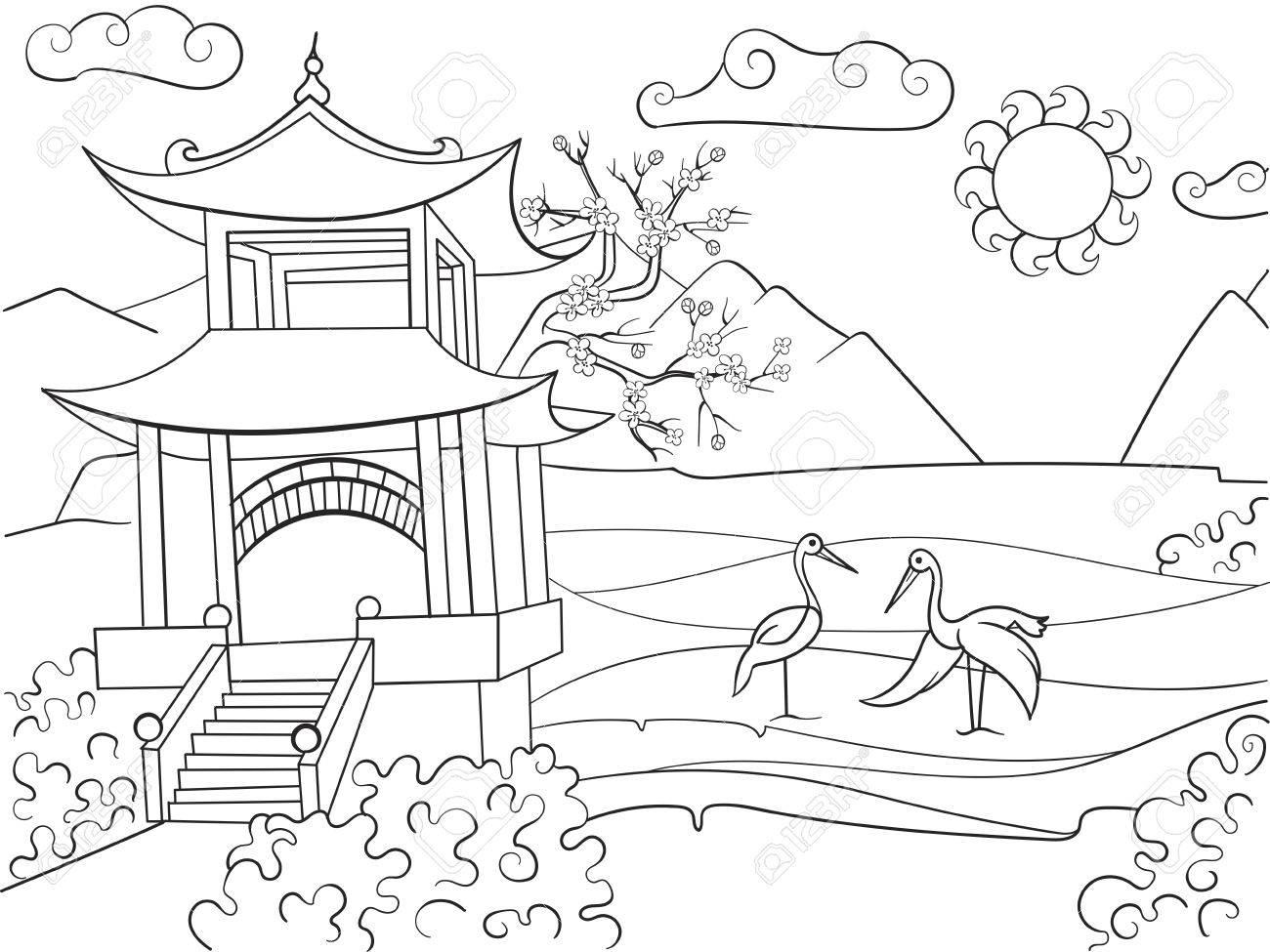 Naturaleza Del Libro Para Colorear De Japón Para Niños Ilustración ...