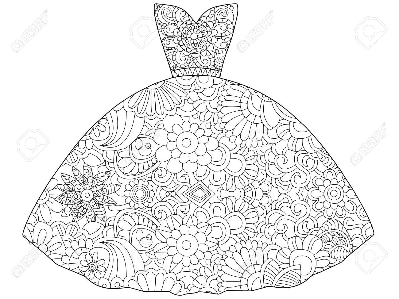 Ilustración Vectorial De Princesa De Vestido Para Colorear