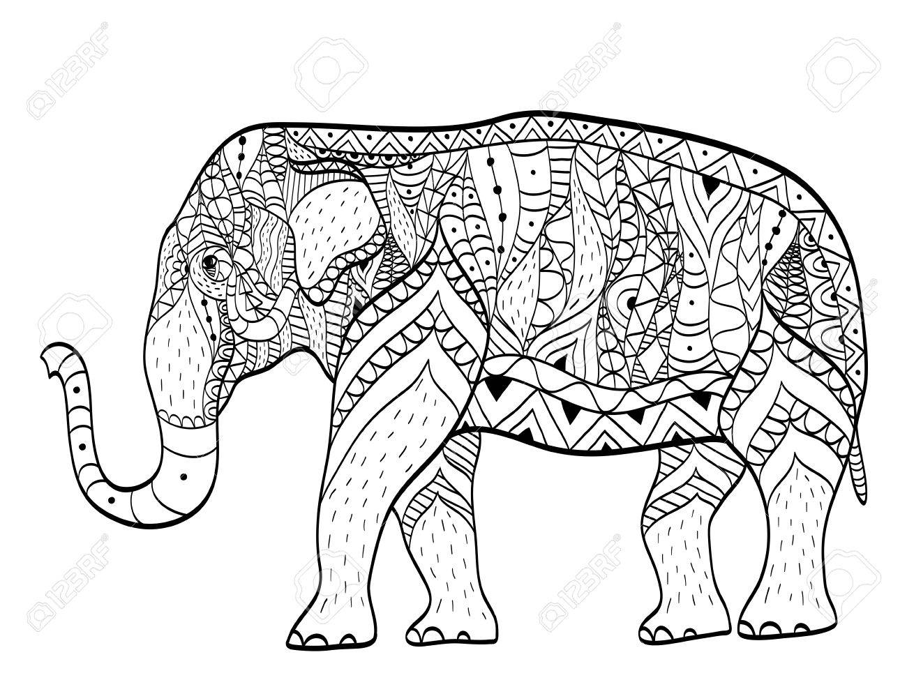Elephant Coloring Book Vector For Adults Royalty Free Cliparts ...