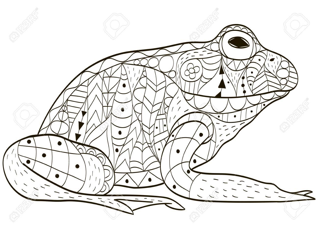Froggy Färbung Vektor Für Erwachsene Lizenzfrei Nutzbare ...