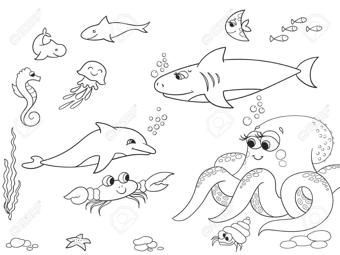 Meeresboden Mit Meerestieren Gegenstand. Vector Färbung Für Kinder ...