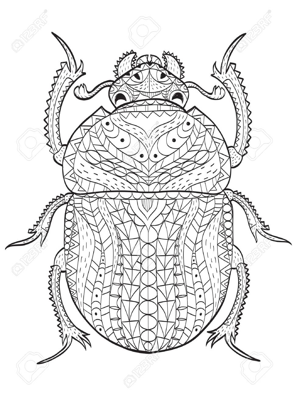 Egyptian Scarab Beetle Coloring Book Vector Illustration Anti Stress For Adult Animal