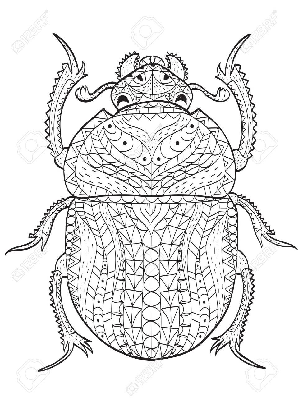 Ilustración Del Vector Del Libro De Colorear Del Escarabajo Egipcio ...