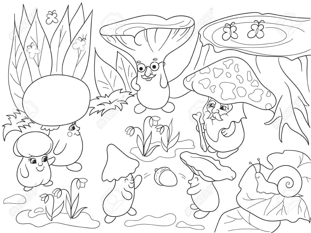 Familia De Setas En El Bosque Para Colorear Libro Para Niños Ilustración Vectorial De Dibujos Animados