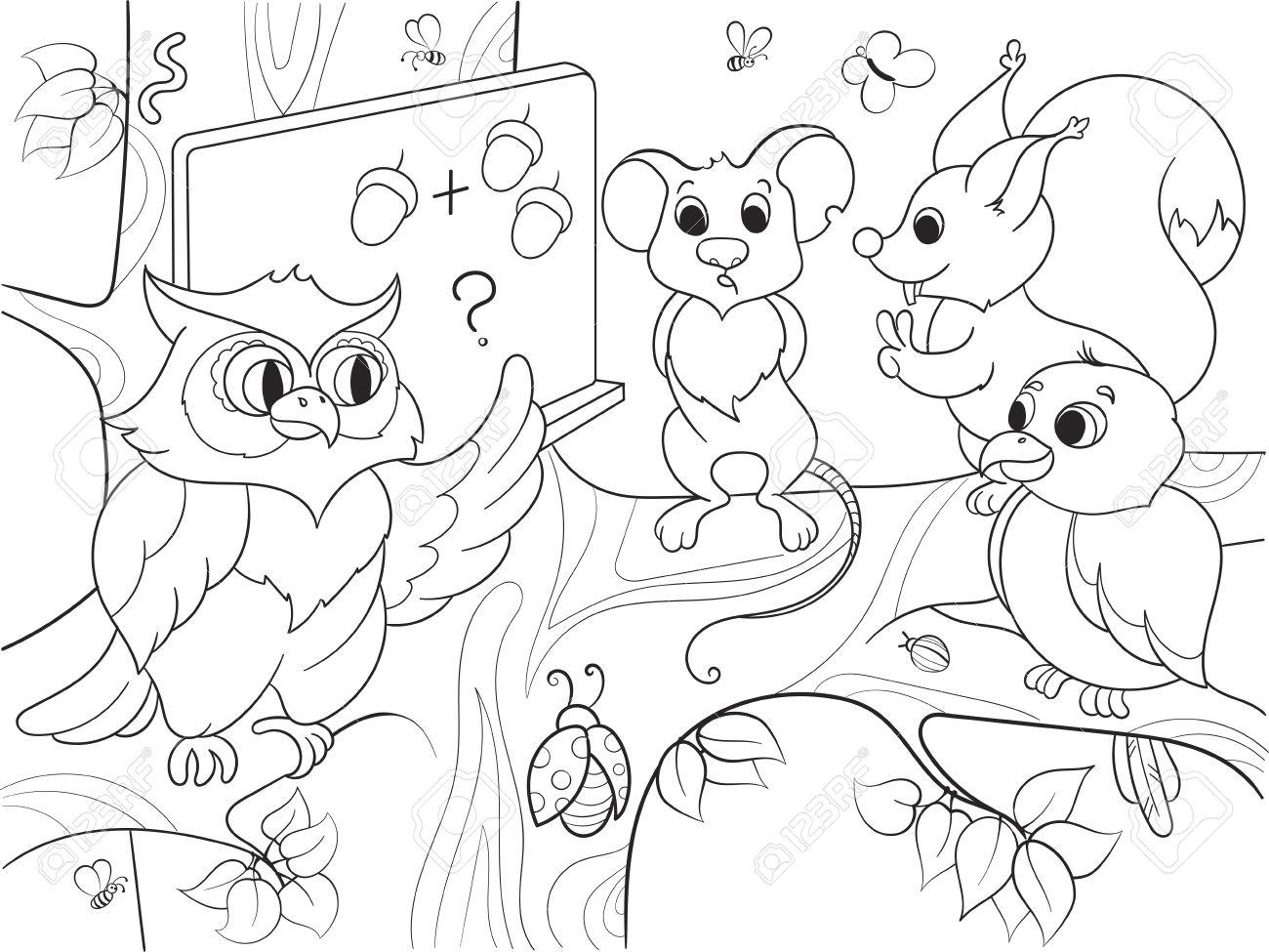 Lección En La Escuela De Un Búho En El Bosque Libro Para Colorear Para Niños Ilustración Vectorial De Dibujos Animados Ratón Blanco Y Negro