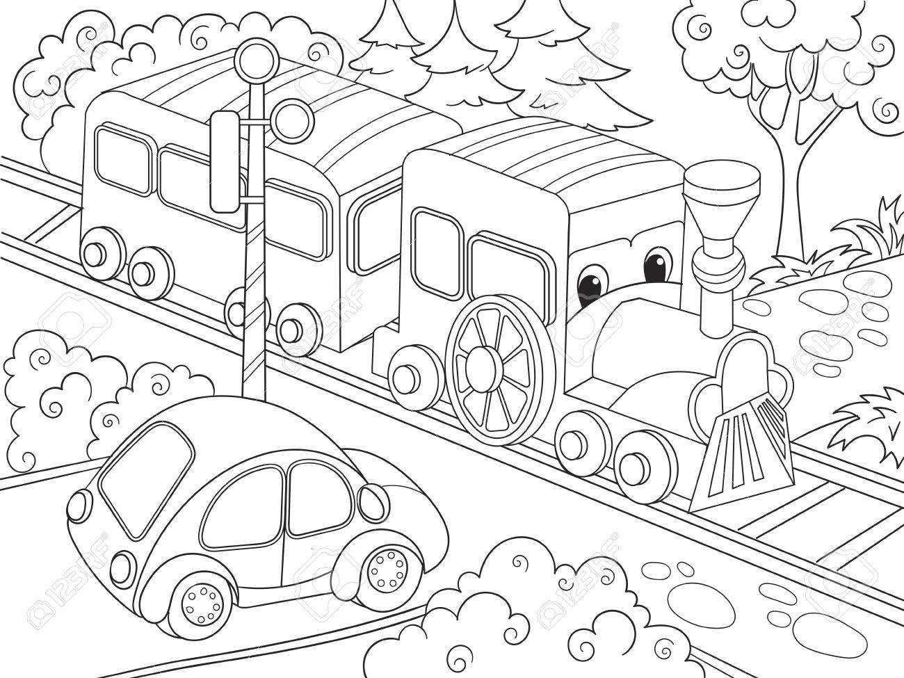 Dibujos Animados Tren Y Coche Para Colorear Libro Para Niños ...