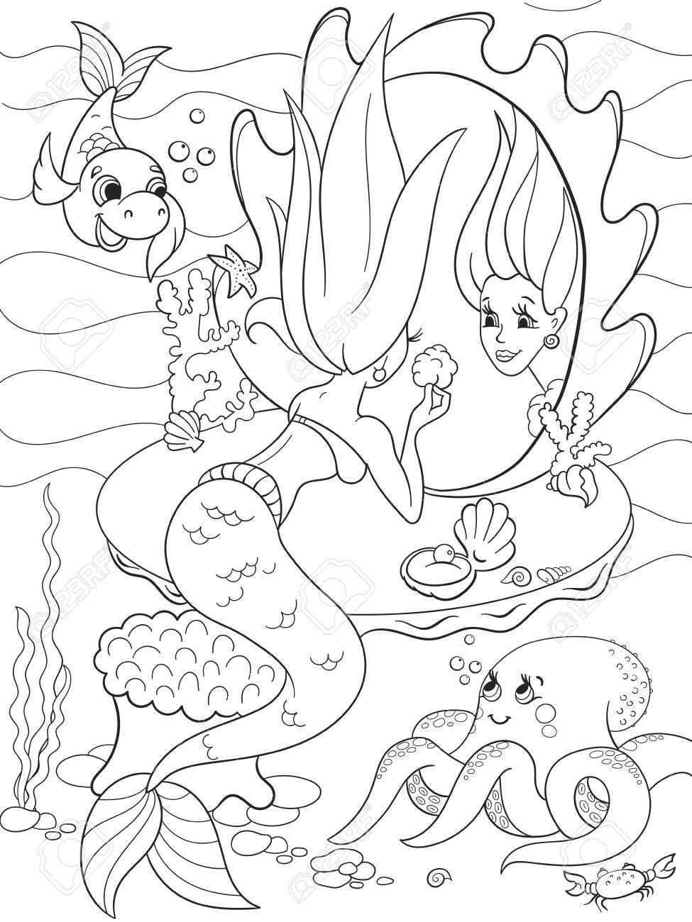 Sirena Se Ve En El Libro Para Colorear Espejo Para Ninos