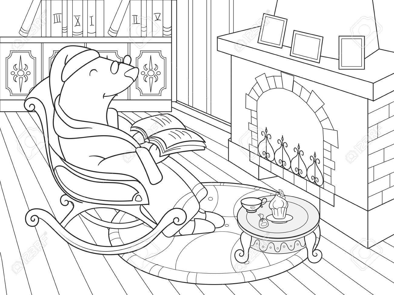 Abuelo Mole En Su Propia Casa En La Biblioteca Docenas De Libros Para Colorear Para Niños Ilustración Vectorial De Dibujos Animados Interior Blanco