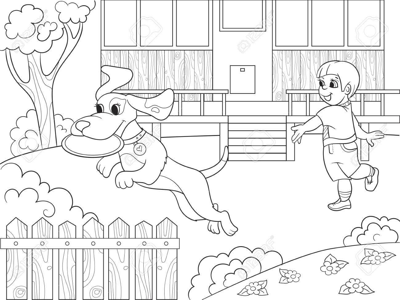 Jugando A Un Niño En La Naturaleza Con Un Perro En Frisbee Para Colorear Para Niños Ilustración Vectorial De Dibujos Animados En Blanco Y Negro