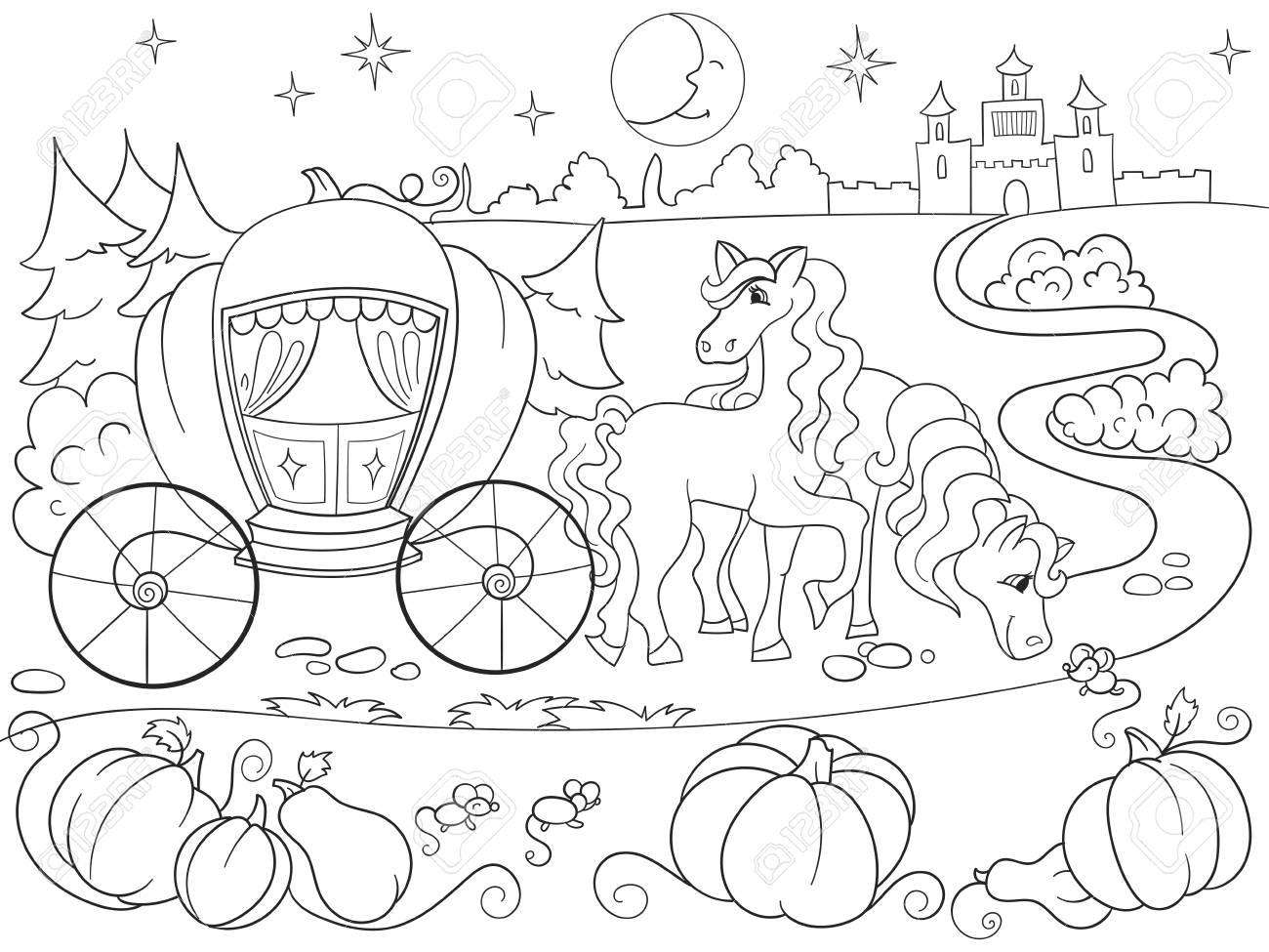 シンデレラのおとぎ話子供漫画のベクトル イラストの塗り絵 の写真素材