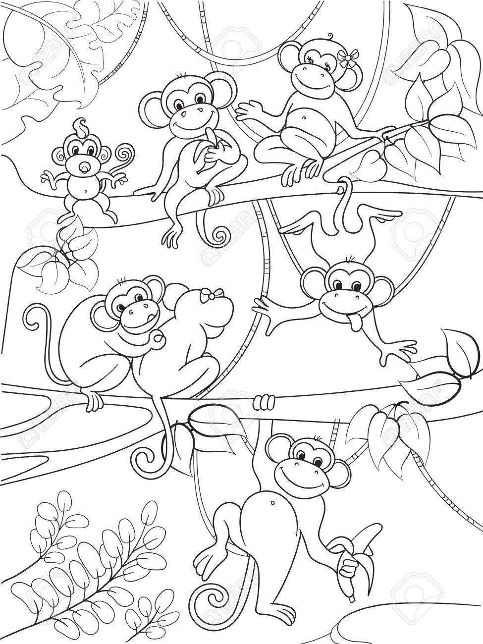 Familia De Monos En Un árbol Libro Para Colorear Para Niños Ilustración Vectorial De Dibujos Animados
