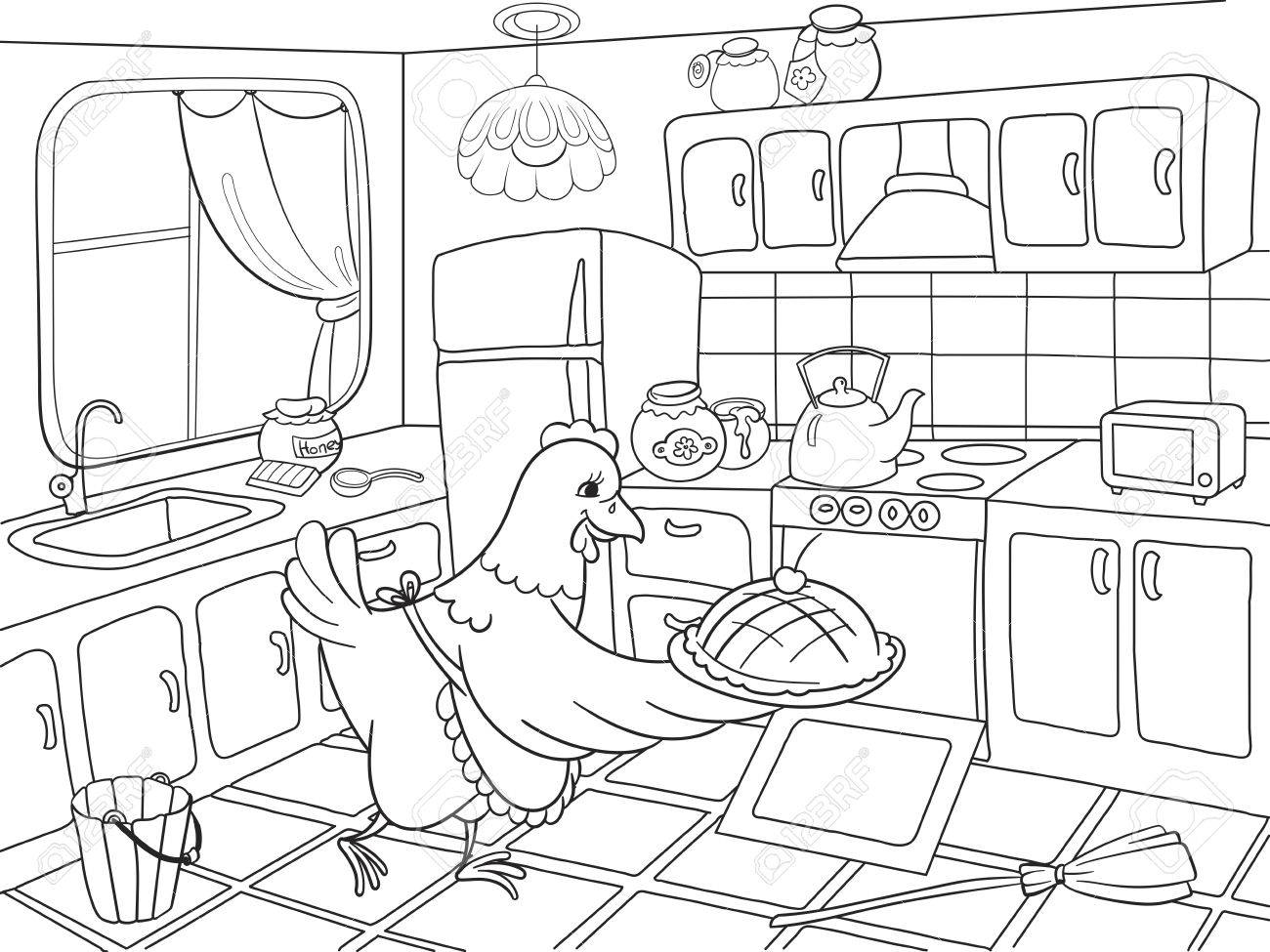 Coloring book kitchen - Mom Chicken In The Kitchen Prepares Food For The Family Coloring Book For Children Cartoon Vector