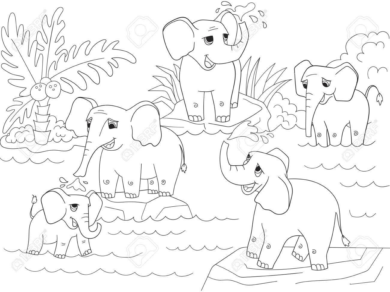 Familia De Elefantes Africanos Para Colorear La Ilustración Vectorial Niños De Dibujos Animados