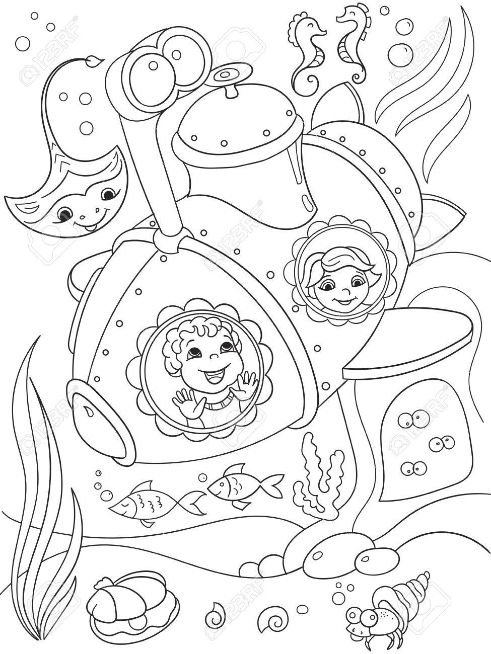 Niños Explorando El Mundo Submarino En Un Submarino Para Colorear ...