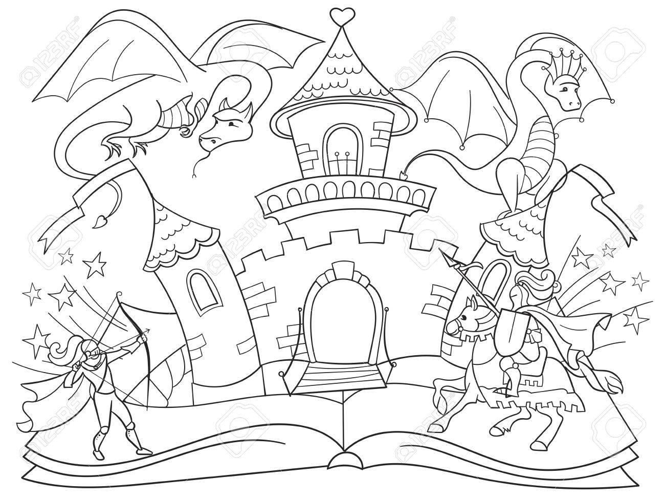 Farbung Fee Offenes Buch Geschichten Konzept Kinder Illustration Mit