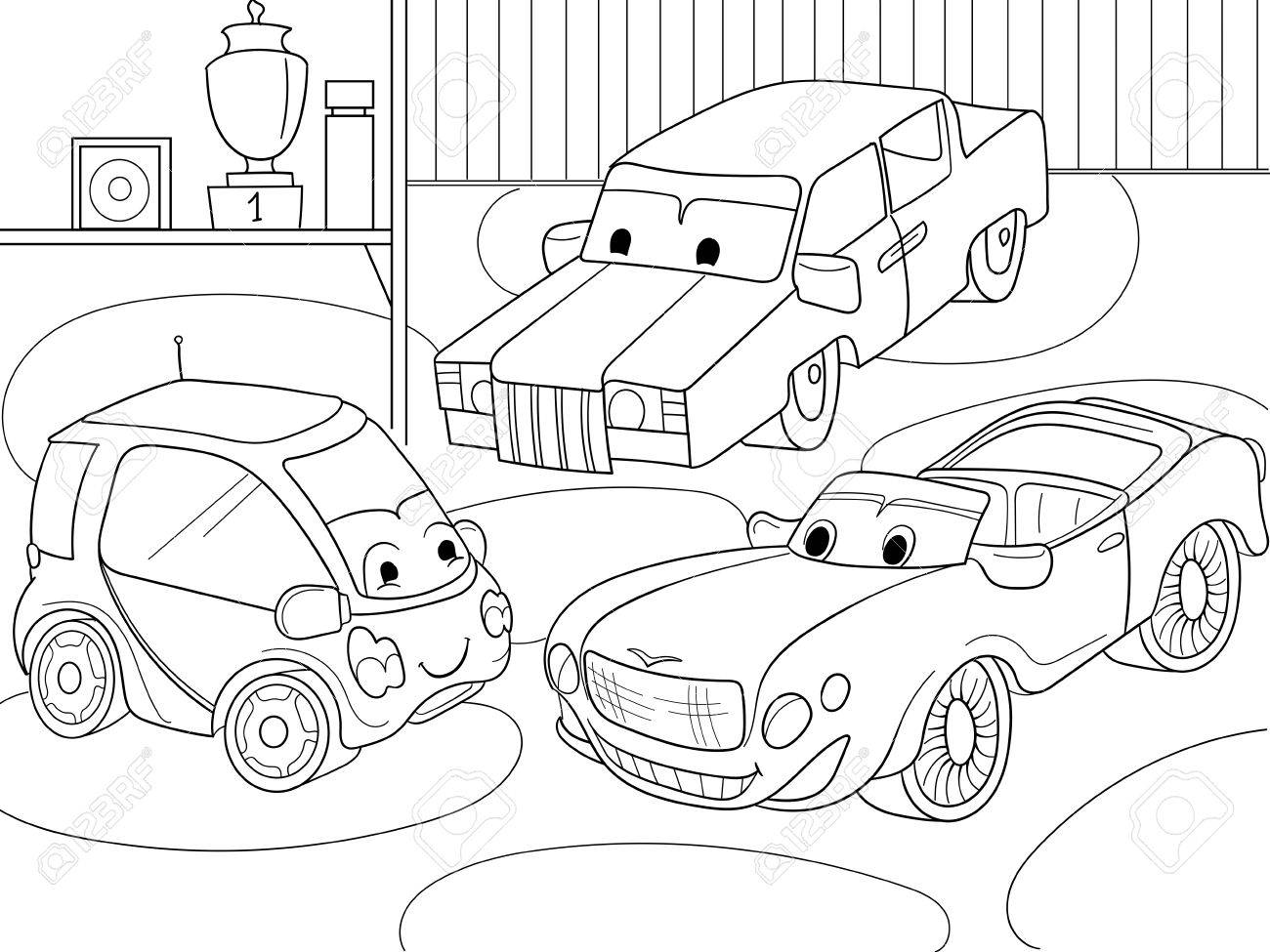 Childrens Cartoon Coloring Book For Boys. Vector Illustration ...