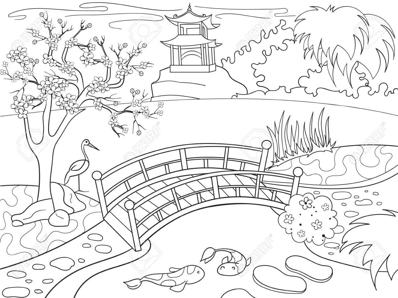 Libro De Colorear De La Naturaleza De Japón Para Niños De Dibujos Animados Ilustración De Vector De Jardín Japonés