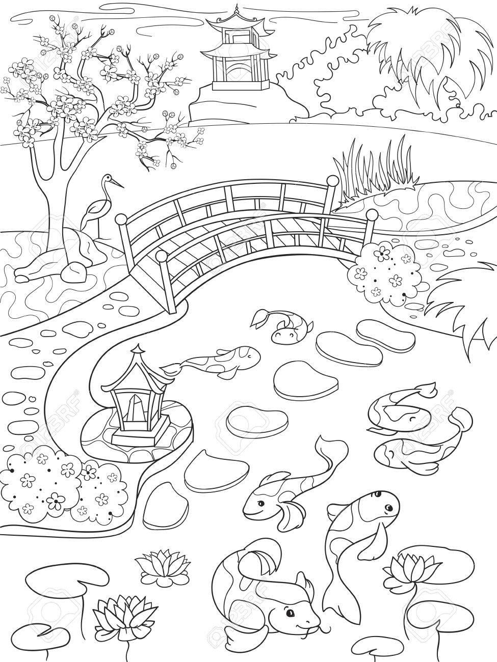 Libro De Colorear De La Naturaleza De Japón Para La Historieta De ...