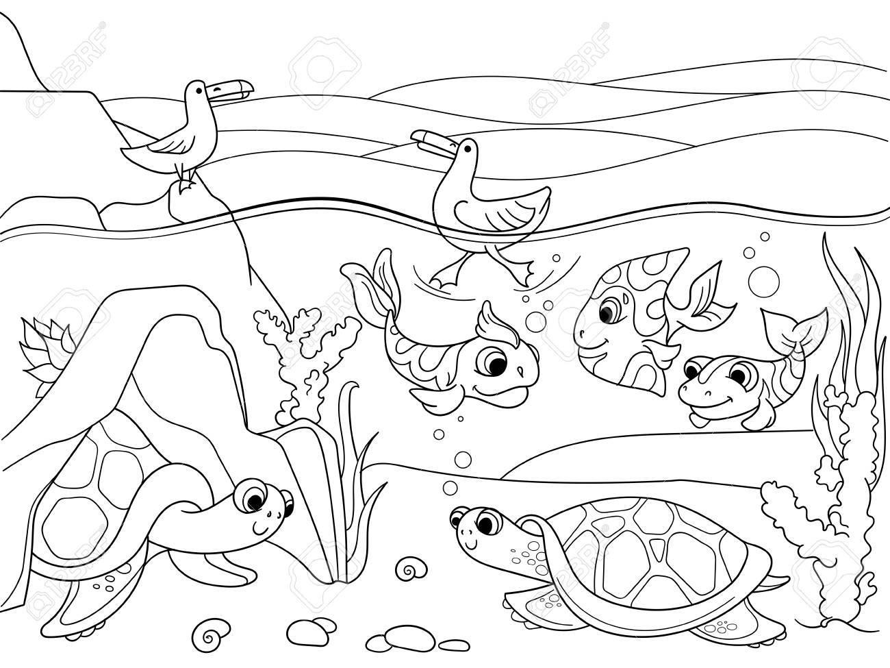 大人ベクトル イラストの塗り絵動物と湿地の風景です湖のカメの水中