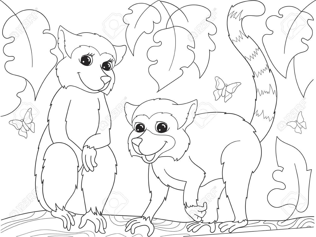 childrens coloring book cartoon family of lemurs on nature for