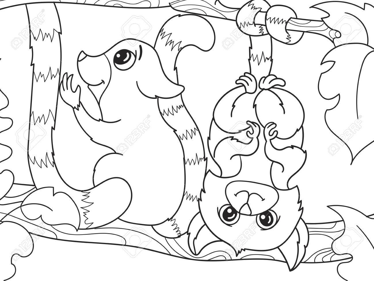Childrens Coloring Book Cartoon Family Of Lemurs On Nature. For ...