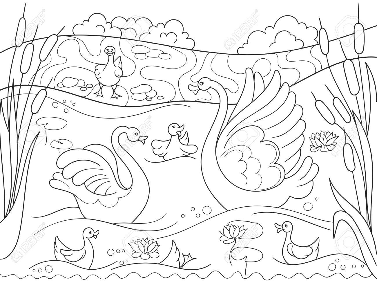 Familia De Dibujos Animados De Libro Para Colorear Para Niños De Swan En La Naturaleza