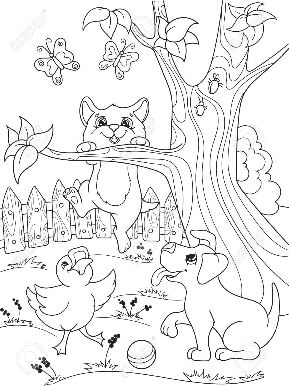 Enfants à Colorier Des Amis Animaux De Dessin Animé Dans La Nature Caneton Chiot Et Chaton Canard Chien Et Chat