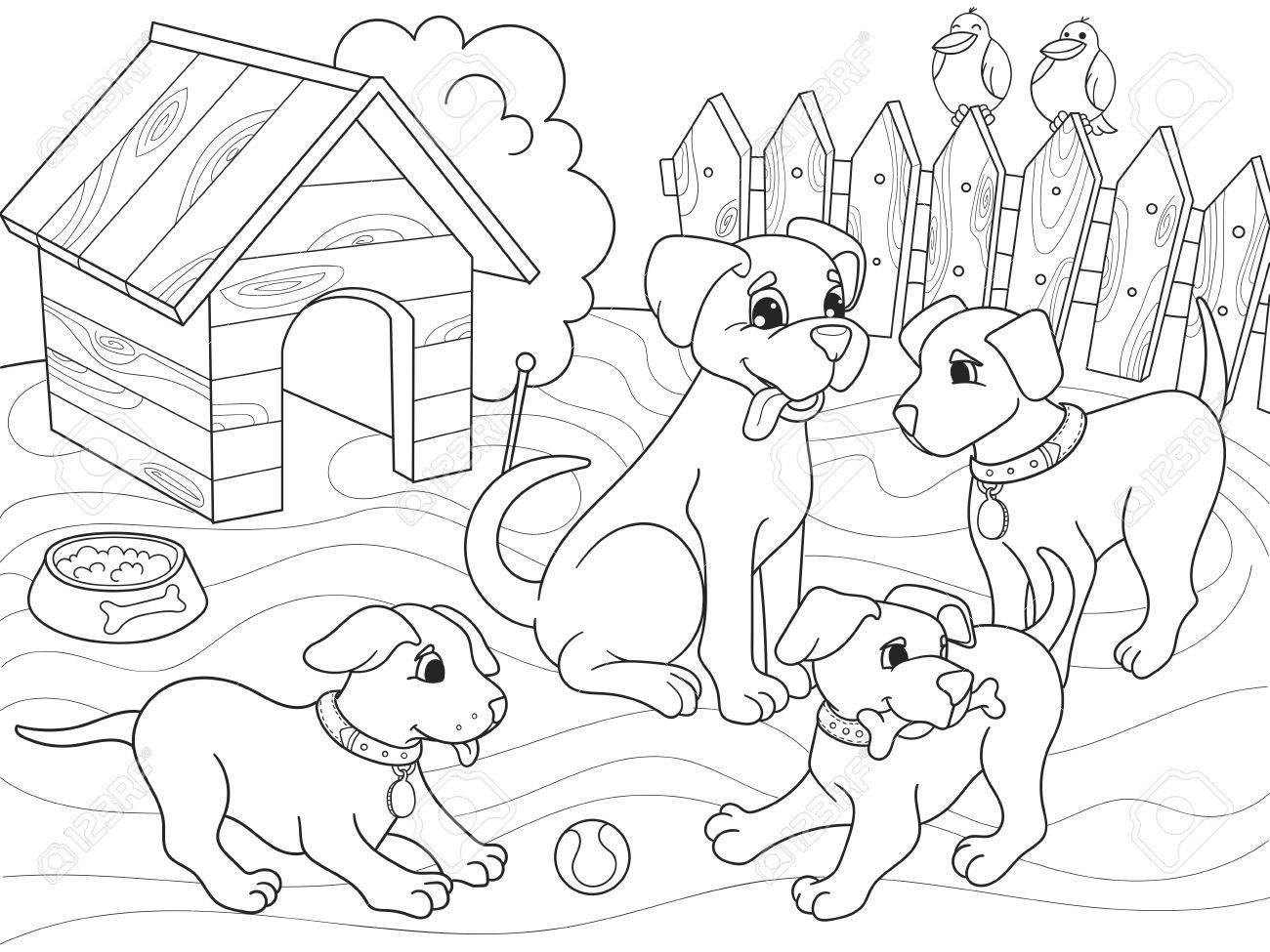 Niños Para Colorear Familia De Dibujos Animados De Libro En La Naturaleza Mamá Perro Y Cachorros Niños