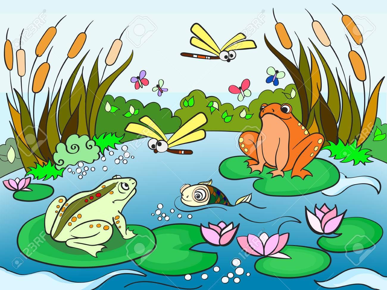 Paisaje De Humedales Con Animales Libro Para Adultos Ilustración ...
